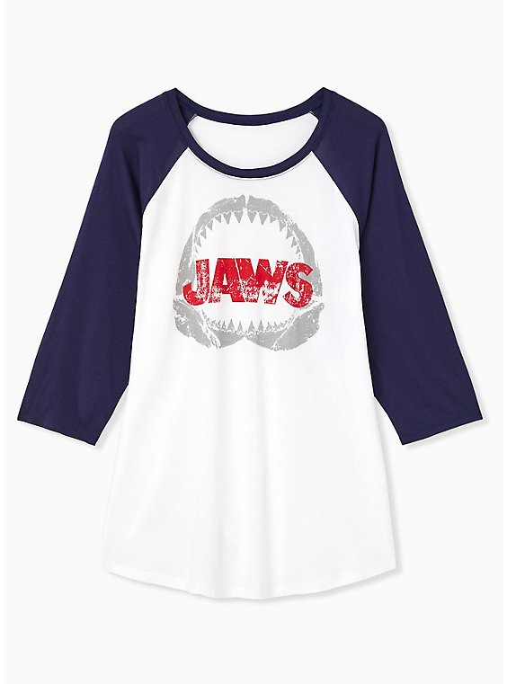Jaws White & Navy Jersey Raglan Top, , hi-res