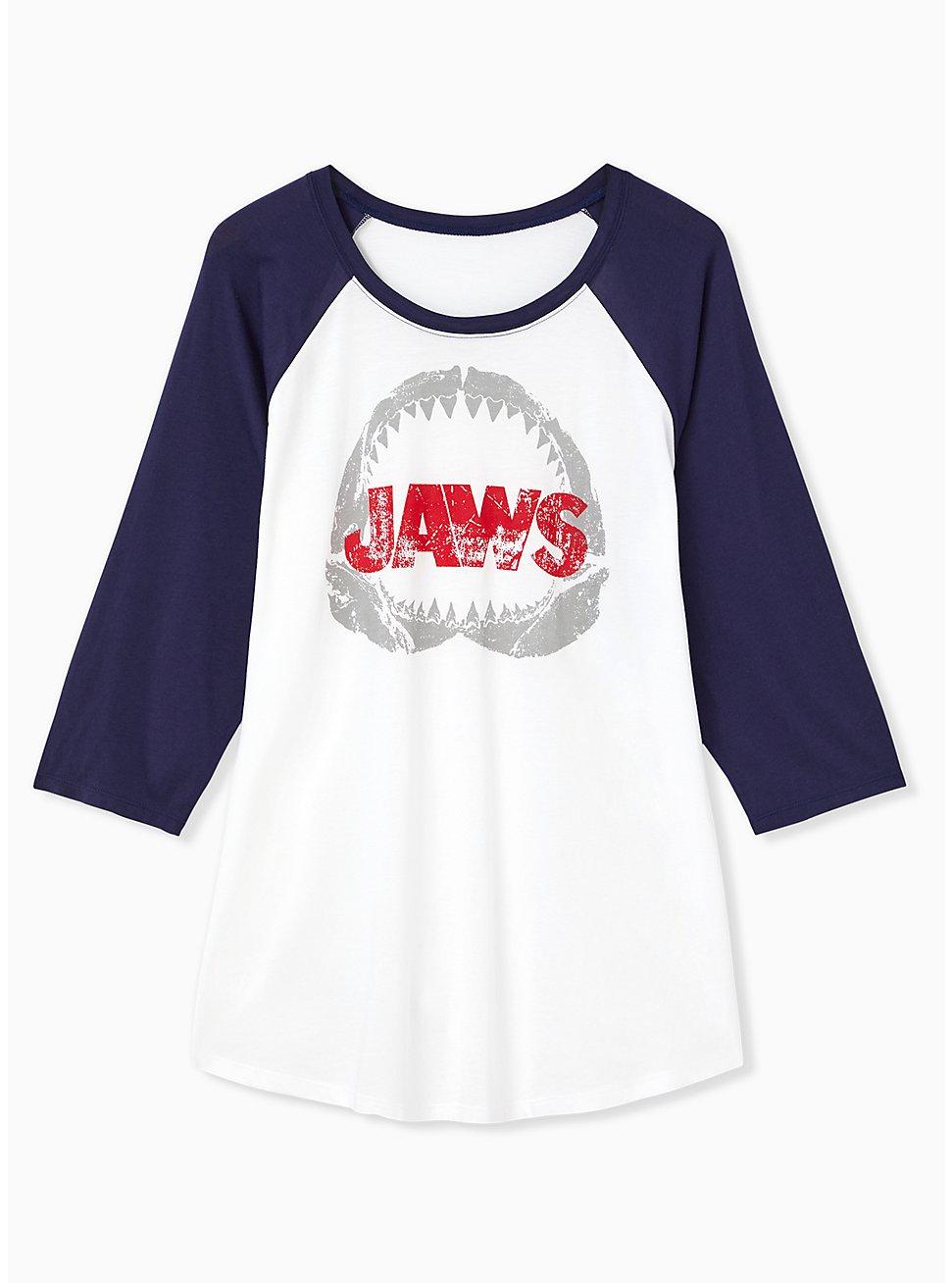 Jaws White & Navy Jersey Raglan Top, BRIGHT WHITE, hi-res