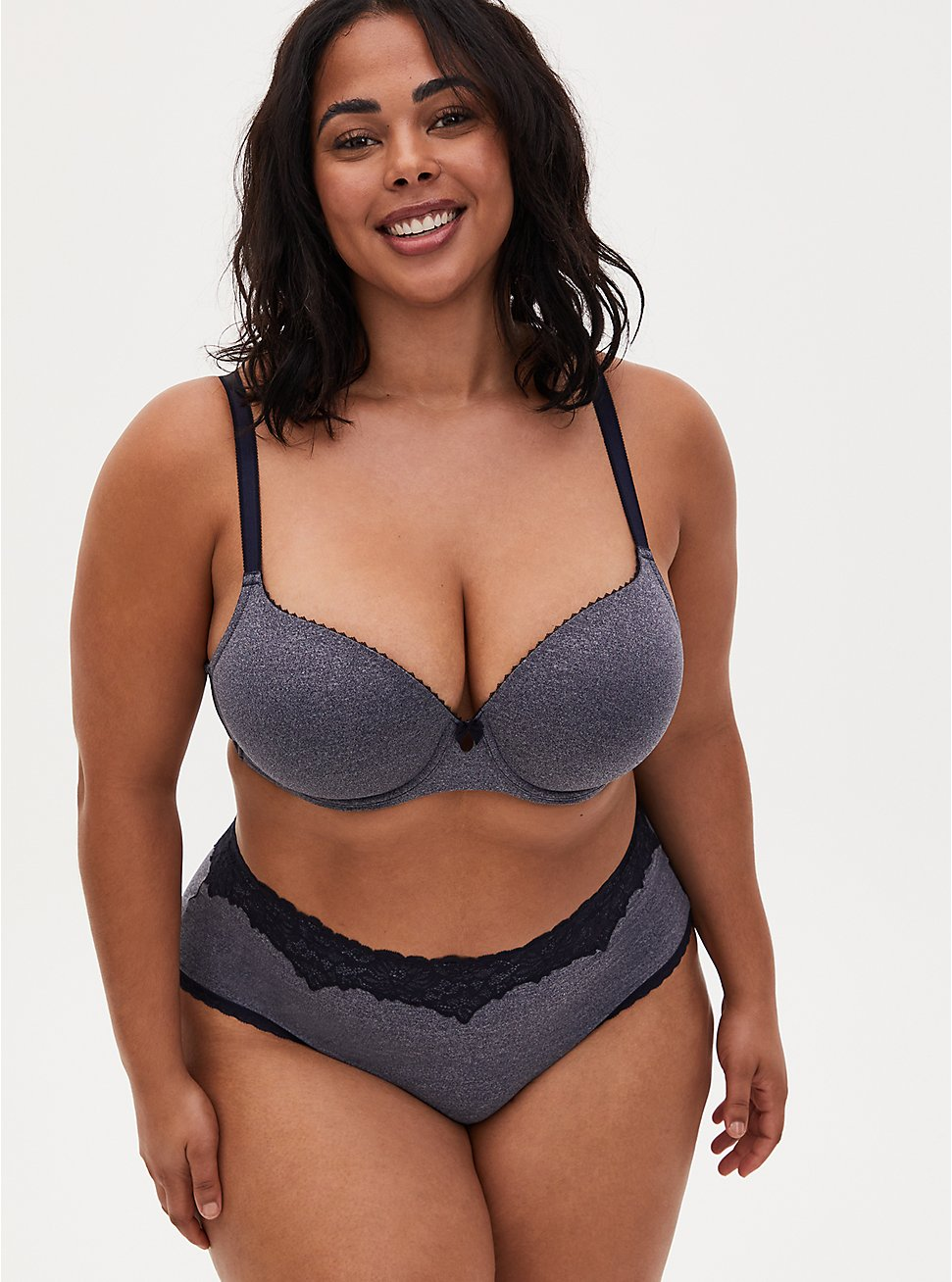 Heather Navy Lightly Lined T-Shirt Bra and Cheeky Panty, , hi-res