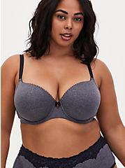 Heather Navy Microfiber Lightly Lined T-Shirt Bra, HEATHER BLUE, hi-res