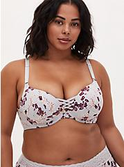 Light Grey Floral 360° Back Smoothing™ XO Push-Up Plunge Bra , CHERRY SPRING FLORAL GREY, alternate