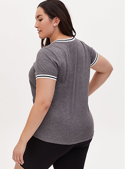 Looney Tunes Group Charcoal Grey Ringer Top, LIGHT HEATHER GREY, alternate