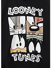 Looney Tunes Characters Black V-Neck Sweatshirt, DEEP BLACK, alternate