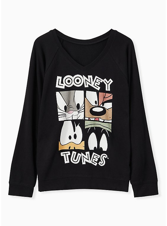 Plus Size Looney Tunes Characters Black V-Neck Sweatshirt, , hi-res
