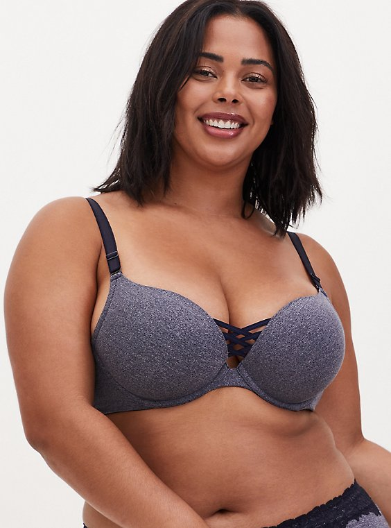 Heather Navy 360° Back Smoothing™ XO Push-Up Plunge Bra, , hi-res