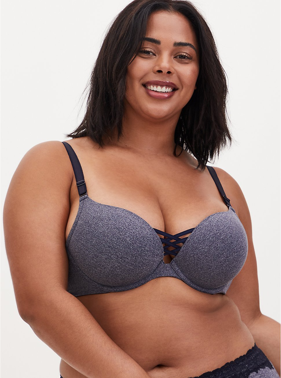 Heather Navy 360° Back Smoothing™ XO Push-Up Plunge Bra, HEATHER BLUE, hi-res
