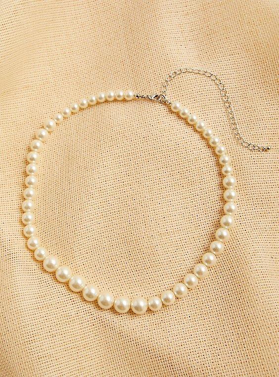 Plus Size Faux Pearl Necklace, , hi-res