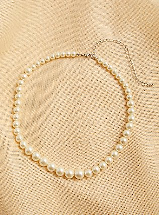 Plus Size Faux Pearl Necklace, , hi-res