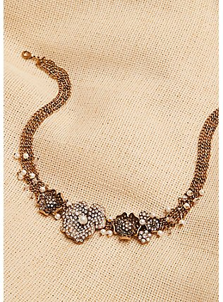 Plus Size Vintage Gold-Tone & Faux Pearl Floral Necklace, , alternate