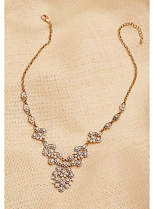 Plus Size Vintage Gold-Tone & Faux Pearl Statement Necklace, , alternate