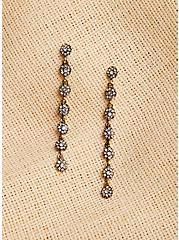 Plus Size Burnished Rhinestone Floral Bridal Earrings, , alternate