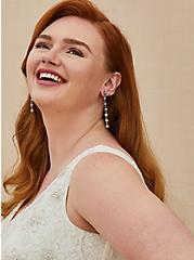 Plus Size Burnished Rhinestone Floral Bridal Earrings, , hi-res