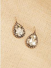 Plus Size Vintage Gold-Tone Rhinestone Teardrop Earrings , , alternate