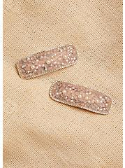 Blush Pink Beaded Hair Clip Pack - Pack of 2, , alternate