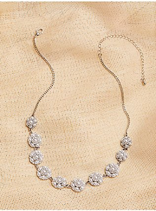 Plus Size Silver-Tone Faux Pearl Cluster Statement Necklace, , alternate