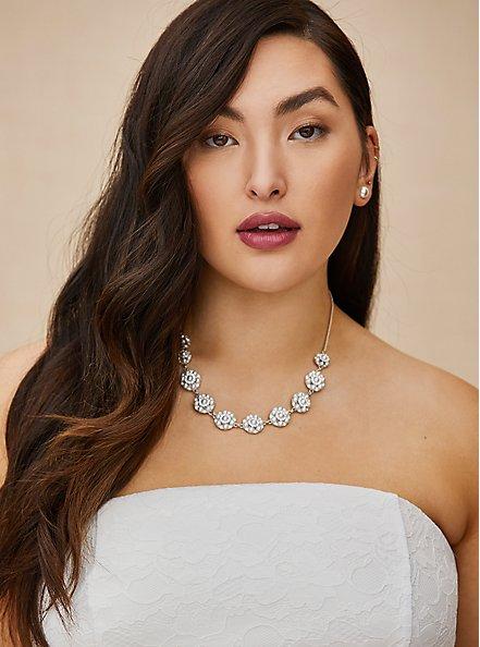 Plus Size Silver-Tone Faux Pearl Cluster Statement Necklace, , hi-res