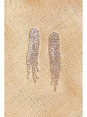 Plus Size Silver-Tone Cupchain Fringe Statement Earrings, , alternate