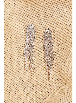 Silver-Tone Cupchain Fringe Statement Earrings, , alternate