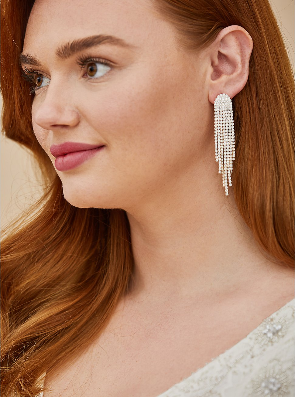 Plus Size Silver-Tone Cupchain Fringe Statement Earrings, , hi-res
