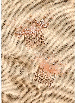 Rose-Gold Tone Floral Faux Pearl Hair Comb Pack - Pack of 2, , alternate