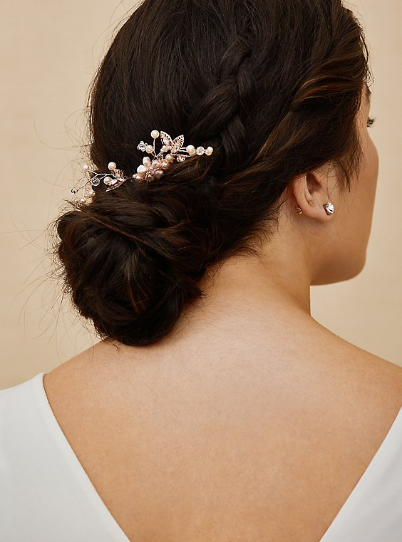 Plus Size Rose-Gold Tone Floral Faux Pearl Hair Comb Pack - Pack of 2, , hi-res
