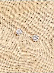 Silver-Tone Round Solitaire CZ Stud Earrings, , alternate