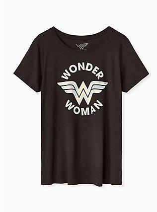 DC Comics Wonder Woman Vintage Black Crew Tee , DEEP BLACK, flat