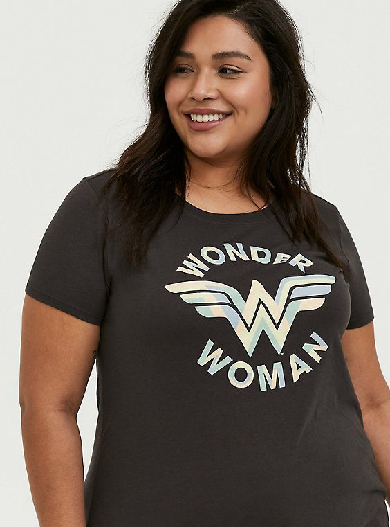 Plus Size DC Comics Wonder Woman Vintage Black Crew Tee , , hi-res