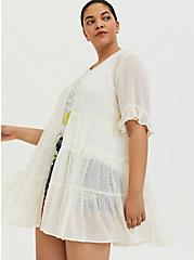 Ivory Swiss Dot Tiered Kimono, WHISPER WHITE, alternate