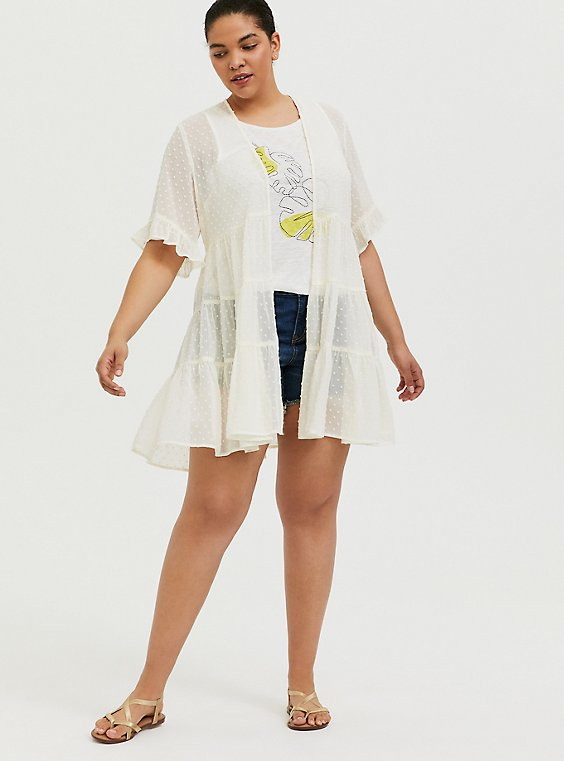 Plus Size Ivory Swiss Dot Tiered Kimono, , hi-res