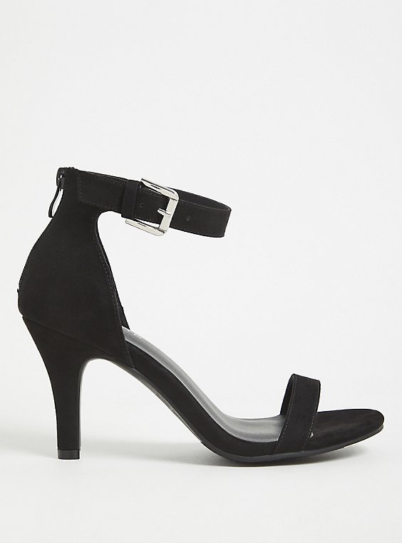 Plus Size Black Faux Suede Ankle Strap Stiletto Heel (WW), , hi-res