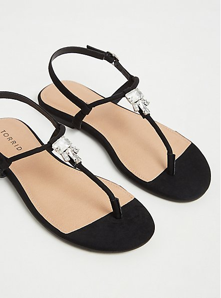 Plus Size Black Faux Suede Jeweled T-Strap Sandal (WW), BLACK, alternate