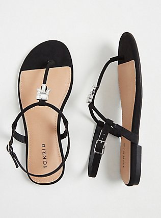 Black Faux Suede Jeweled T-Strap Sandal (WW), BLACK, hi-res