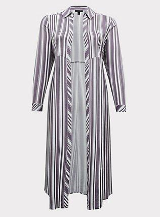 Plus Size Slate Grey & White Stripe Challis Duster Shirt Kimono, STRIPES, flat