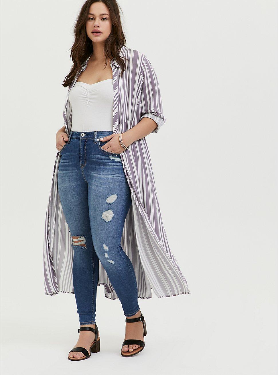 Slate Grey & White Stripe Challis Duster Shirt Kimono, STRIPES, hi-res