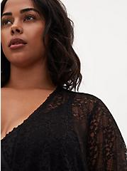 Black Lace Self Tie Long Robe, RICH BLACK, alternate