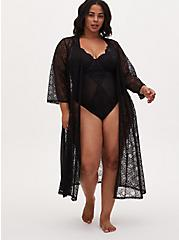 Black Lace Self Tie Long Robe, RICH BLACK, hi-res