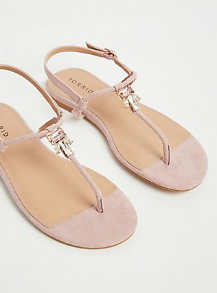 Blush Faux Suede Jeweled T-Strap Sandal (WW), BLUSH, alternate