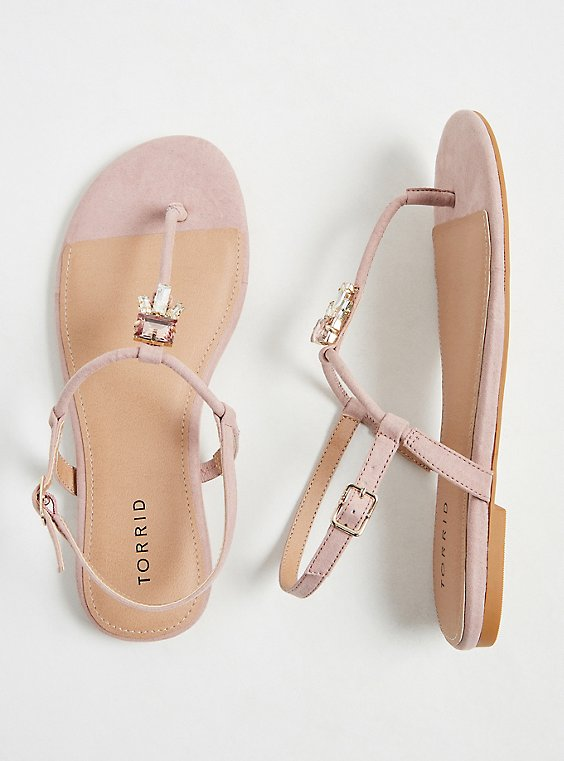 Blush Faux Suede Jeweled T-Strap Sandal (WW), , hi-res