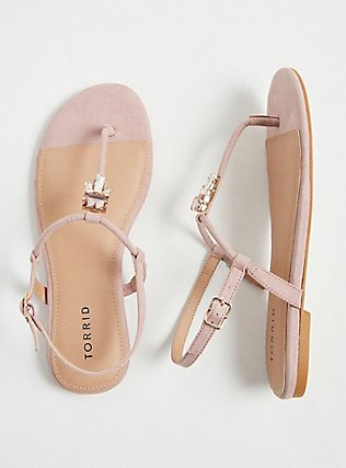 Blush Faux Suede Jeweled T-Strap Sandal (WW), BLUSH, hi-res