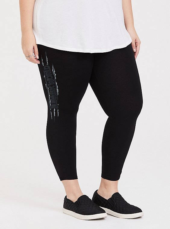 Plus Size Jurassic World Black Crop Legging, , hi-res
