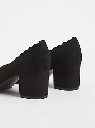 Black Faux Suede Scallop Block Heel (WW), BLACK, alternate