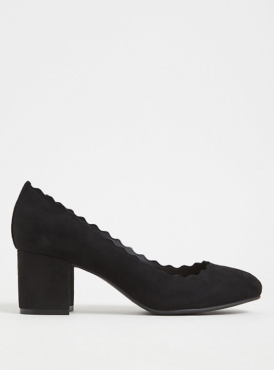 Black Faux Suede Scallop Block Heel (WW), , hi-res