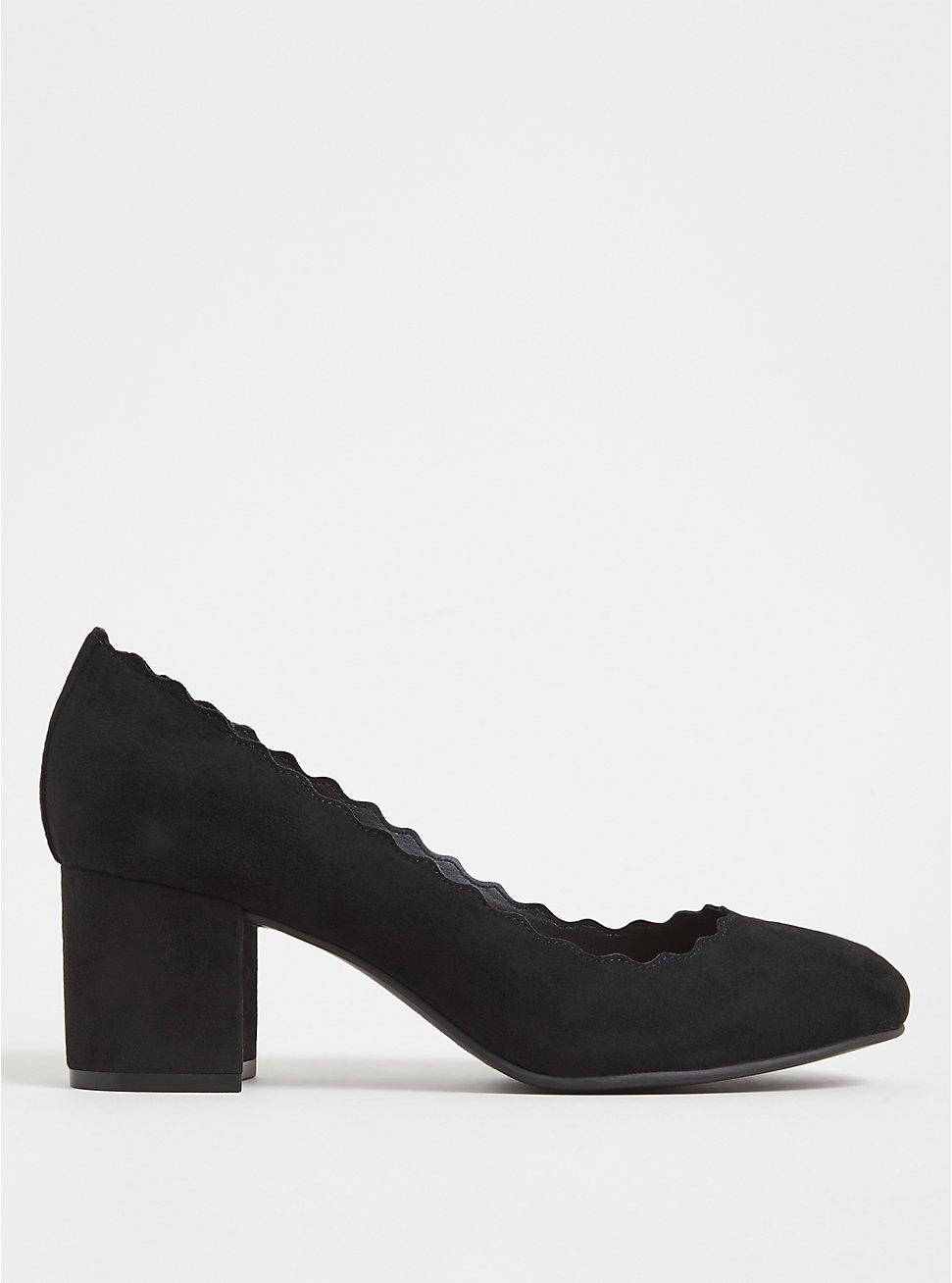 Black Faux Suede Scallop Block Heel (WW), BLACK, hi-res