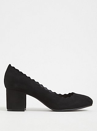 Black Faux Suede Scallop Block Heel (WW), BLACK, hi-res