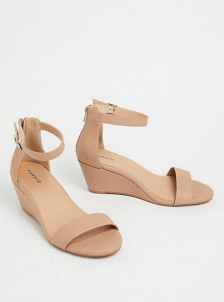 Beige Faux Leather Ankle Strap Demi Wedge (WW), , alternate