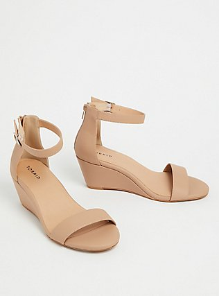 Nude Faux Leather Ankle Strap Demi Wedge (WW), BLACK, alternate