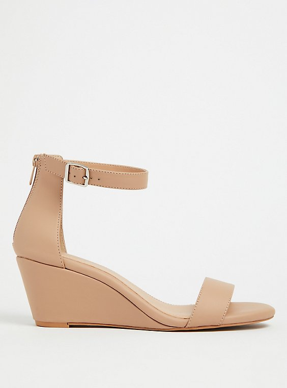 Plus Size Beige Faux Leather Ankle Strap Demi Wedge (WW), , hi-res