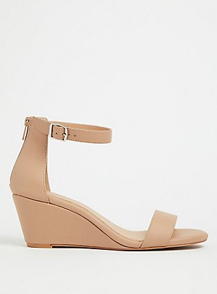 Nude Faux Leather Ankle Strap Demi Wedge (WW), BLACK, hi-res