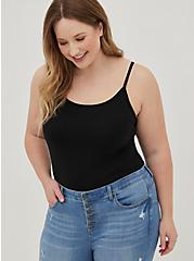 Black Scoop Neck Midi Foxy Cami, BLACK, hi-res